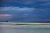 Beach panorama on a thunderstorm evening in Cayoguillermo, Jardines del Rey, Cuba, Caribbean.
