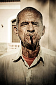 Man with cigar in the streets of Havana. Cuba