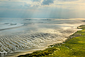 Aerial view over the North Sea. The Wadden Sea from Above. Germany, East Frisia, North Sea