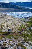 Iceland, road trip, midsummer night, mountain bike, MTB, glacier, glacial lake, icebergs