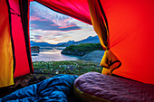Iceland, road trip, midsummer night, camping, tent, midnight, view, room with a view
