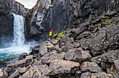 Iceland, road trip, midsummer night, hiking, waterfall