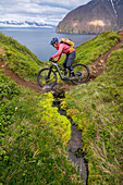 Iceland, road trip, midsummer night, mountain bike, fjord, single trail, e-bike