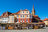 Piata Mica with Protestant parish church, Sibiu, Transylvania, Romania