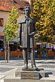Statue for Gheorghe Lazar on Piata Mare, Sibiu, Transylvania, Romania