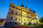 Sighisoara City Hall at dusk, Transylvania, Romania