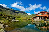 Baleasee on the Transfagarasanstrasse with the Cabana Balea Lac, Carpathians, Transylvania, Romania