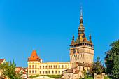 Clock tower with town hall, Sighisoara, Transylvania, Romania
