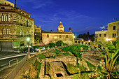 Excavations in Taormina, illuminated, Taormina, Sicily, Italy