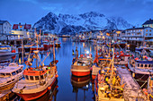 Ships in the illuminated port of Henningsvaer with snowy mountains, Henningsvaer, Lofoten, Nordland, Norway