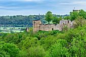 Blankenberg Castle rises above deciduous forest, Blankenberg, Sieg natural area, Bergisches Hochland, North Rhine-Westphalia, Germany
