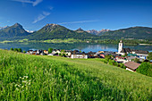 Ort St. Wolfgang mit Wolfgangsee, Wolfgangsee, Salzkammergut, Salzburg, Österreich