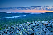 Morning mood over boulders at the summit of Lusen, Lusen, Bavarian Forest National Park, Bavarian Forest, Lower Bavaria, Bavaria, Germany