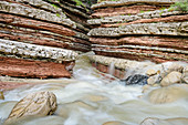 Bach fließt durch Canyon mit rot gebändertem Fels, Brent de l´Art, Belluneser Voralpen, Belluno, Venetien, Italien