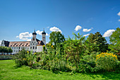 Monastery garden with Benediktbeuern Abbey, Benediktbeuern, Upper Bavaria, Bavaria, Germany