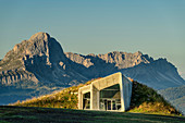 Messner Mountain Museum Kronplatz with Peitlerkofel, Corones, architect Zaha Hadid, Kronplatz, Puster Valley, Dolomites, South Tyrol, Italy