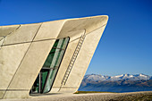 Messner Mountain Museum Kronplatz with Zillertal Alps, Corones, architect Zaha Hadid, Kronplatz, Puster Valley, Dolomites, South Tyrol, Italy