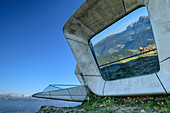 Mountains are reflected in windows of the Messner Mountain Museum Kronplatz, Corones, architect Zaha Hadid, Kronplatz, Puster Valley, Dolomites, South Tyrol, Italy