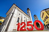 Jubilee jewelry for 1250 years Innichen in front of collegiate church, Innichen, Pustertal, Dolomites, South Tyrol, Italy