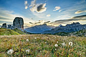 Autumnal mountain meadow with Cinque Torri, Sorapis and Croda da Lago, Cinque Torri, Dolomites, UNESCO World Heritage Dolomites, Veneto, Italy