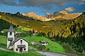 Chapel of St. Zyprian with rose garden group, St. Zyprian, rose garden, Dolomites, UNESCO World Heritage Dolomites, South Tyrol, Italy
