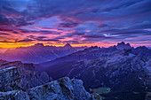 Cloud mood over Sorapis, Antelao and Monte Pelmo, Dolomites, UNESCO World Heritage Dolomites, Veneto, Italy