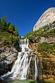 Wasserfall Cascata di Fanes, Fanesbach, Cortina d´Ampezzo, Dolomiten, UNESCO Welterbe Dolomiten, Venetien, Italien