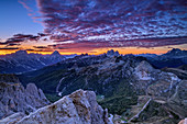 Morning mood with red clouds over Sorapis, Antelao, Monte Pelmo and Civetta, Dolomites, UNESCO World Heritage Dolomites, Veneto, Italy