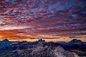 Red glowing clouds over Antelao, Croda da Lago, Monte Pelmo and Civetta, Dolomites, UNESCO World Heritage Dolomites, Veneto, Italy