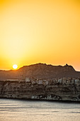 Steep coast and chalk cliffs, sunset, Bonifacio, Corse-du-Sud, Corsica, France
