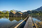 Boathouses on Kochelsee, Kochel am See, Upper Bavaria, Bavaria, Germany