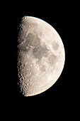 Closeup crescent moon without clouds. Craters are visible through impacts on the lunar surface, Germany, Brandenburg, Spreewald