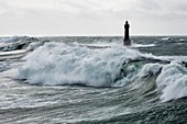 France, Finistere, Iroise Sea, Parc Naturel Regional d'Armorique (Armorica Regional Natural Park), France, Finistere, Iroise Sea, Parc Naturel Regional d'Armorique (Armorica Regional Natural Park), ile d'Ouessant, Jument lighthouse during storm Ruth, February 8th 2014 (aerial view)