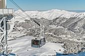 France, Cantal, Parc Naturel Regional des Volcans d'Auvergne (Natural regional park of Volcans d'Auvergne), Monts du Cantal, Laveissiere, Super Lioran ski resort