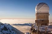 France, Hautes Pyrenees, Bagneres de Bigorre, La Mongie, Pic du Midi de Bigorre (2877m), the dome of the telescope Bernard Lyot