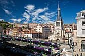 France, Rhone, Lyon, historical site listed as World Heritage by UNESCO, St Paul station and church with a view of the Croix Rousse District