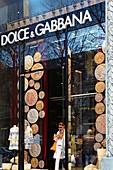 France, Paris, Luxury shops on Montaigne Avenue, Dolce & Gabbana