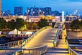 France, Paris, area listed as World Heritage by UNESCO, the banks of the Seine the Simone de Beauvoir footbridge by architect Dietmar Feichtinger