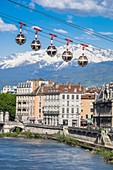 France, Isere, Grenoble, the Bastille cable car or the Bubbles, the first urban cable car in the world with Belledonne massif in the background