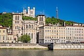 France, Rhone, Lyon, historical site listed as World Heritage by UNESCO, the Saone embankments, Saint Jean Cathedral and the Basilica Notre Dame de Fourviere in the background