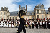 France, Seine et Marne, Fontainebleau, Fontainebleau castle listed as World Heritage by UNESCO, recreation of history for the bicentenary of the farewell of Napoleon the first in Fontainebleau