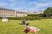 France, Paris, area listed as World Heritage by UNESCO, the Carrousel gardens, statues of Mayol Louvre in the background