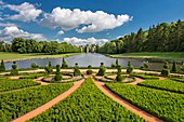 France, Eure et Loir, Maintenon, Chateau de Maintenon, New French garden, commissioned by the Eure et Loir General Council and directed by Patrick Pottier, in the spirit of the plan established by Le Notre
