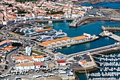 France, Vendee, Yeu island, Port Joinville, the harbour (aerial view)