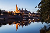 France, Dordogne, Perigord Blanc, Perigueux, Saint Front Byzantine Cathedral at night, stop on Route of Santiago de Compostela, listed as World Heritage by UNESCO, reflections in Isle River