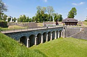 France, Nord, Maubeuge, bridge toward the guard and fortifications built by Vauban in 1682