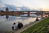 France, Haute Garonne, Toulouse, Henri Martin Promenade, Saint Pierre Bridge and Catalans Bridge