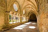 France, Aude, gallery of the cloister of Sainte Marie de Fontfroide cistercian abbey
