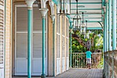 France, Guadeloupe (French West Indies), Grande Terre, Pointe a Pitre, historic district, Saint John Perse museum houses a permanent exhibition on the Creole costumes and on the life of Saint John Perse, long balcony covered the house from 1880