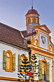 France, Reunion Island (French overseas department), Saint Pierre, colonial architecture and historical heritage, part of the facade of a colonial building